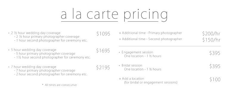 Traditional wedding prices utah a la carte