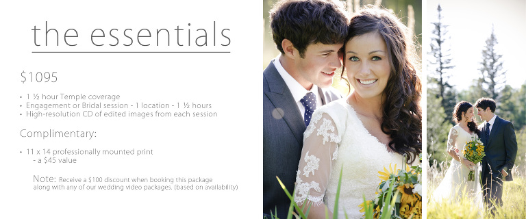 temple wedding pricing Utah photography essentials