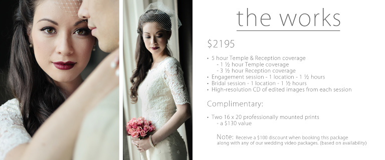 temple wedding pricing Utah photography works