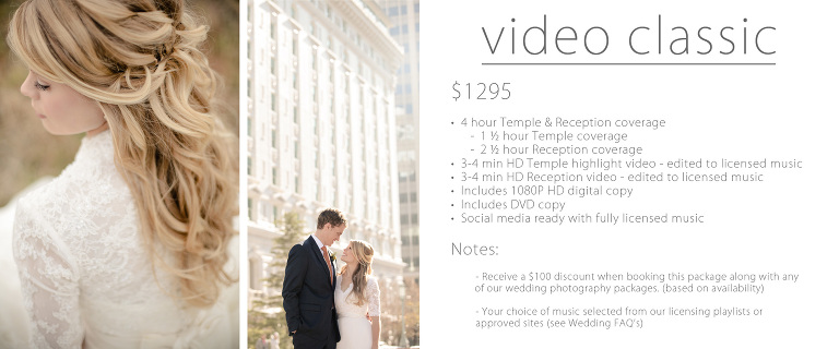 temple wedding pricing Utah videography classic