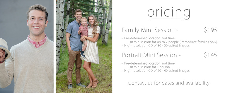 mini session pricing utah photographer portrait and family