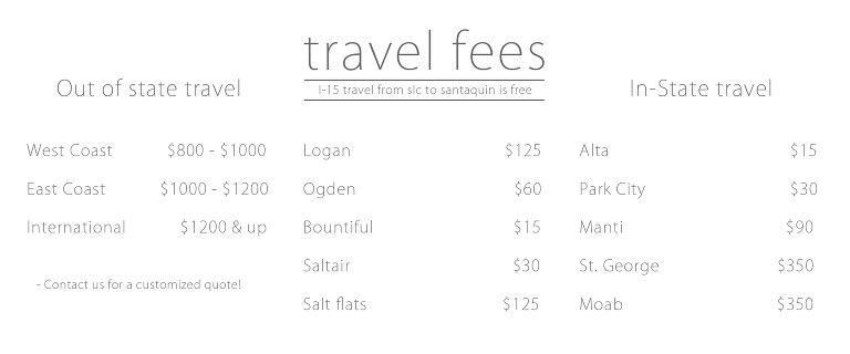 commercial photographer travel fees